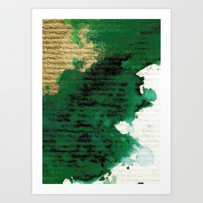 Golden Moon Hits Green Shore Art Print