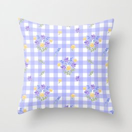 Spring picnic bouquets in Provence blue Throw Pillow