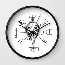 Raven and Vegvisir Wall Clock