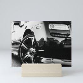 Rolls Rims // Black and White Luxury Super Car Photography Real Life Street Shots Mini Art Print