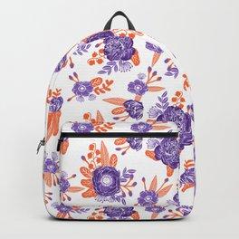 University football fan alumni clemson orange and purple floral flowers gifts Backpack