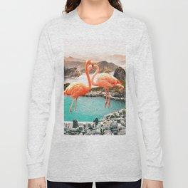 Collage, Flamingo, City, Creative, Nature, Modern, Trendy, Wall art Long Sleeve T-shirt