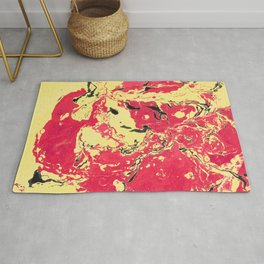 Gold and red Marble aqrylic Liquid paint art Rug