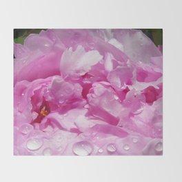Pink Peony with Rain Drops Throw Blanket