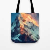 low poly Tote Bags featuring Mountain low poly by Li9z