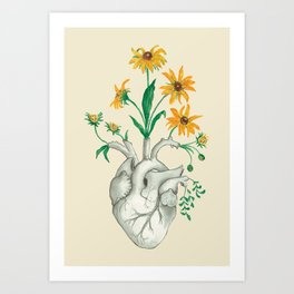 Floral Heart: Sunflower Human Anatomy Art Print
