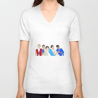 one direction V-neck T-shirts featuring One Direction by Natasha Ramon