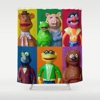 muppet Shower Curtains featuring Action Figure Grid: The Muppet Show by CantinaDanny