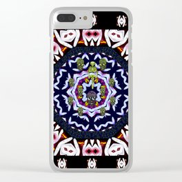 Japan flowers  style and sugar skulls Clear iPhone Case