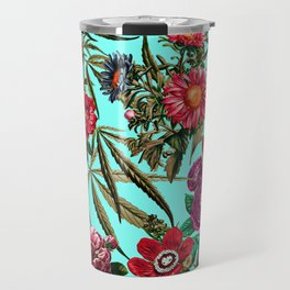 Marijuana and Floral Pattern II Travel Mug