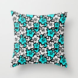 Hibiscus in Blue & White Throw Pillow