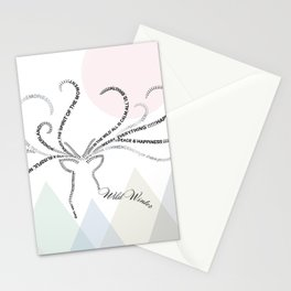 Abstrac Typographic Reindeer in The Mountains Stationery Cards