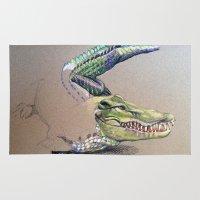 crocodile Area & Throw Rugs featuring Crocodile by Jeanne Hollington