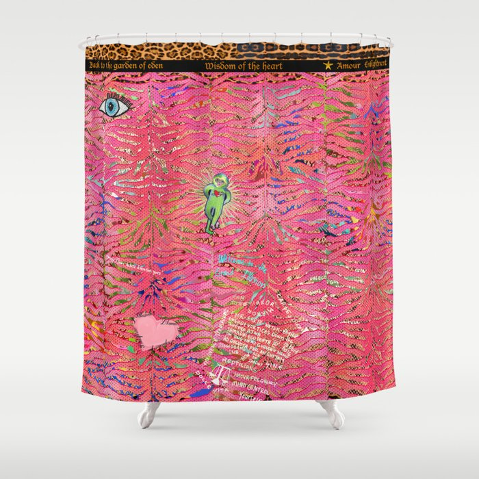 coral tiger love Shower Curtain