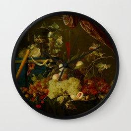 "Jan Davidsz de Heem ""Sumptuous Fruit Still Life with Jewellery Box"" Wall Clock"