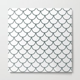 Steel Grey Fish Scales Pattern Metal Print