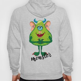 Good green monster with one blue eye, blue horns and red lips. Hoody
