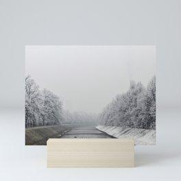 Miljacka river in Sarajevo during the winter Mini Art Print