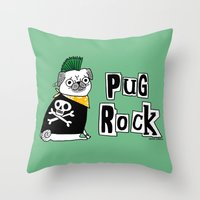 hiphop Throw Pillows featuring Pug Rock by gemma correll