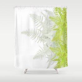 PALE GREEN & GREY ABSTRACT WOODLAND FERNS ART Shower Curtain
