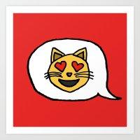 Emoji - Cat with Heart Eyes Art Print