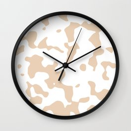 Large Spots - White and Pastel Brown Wall Clock