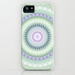 Heirloom Mandala in Pastel Green and Purple iPhone Case