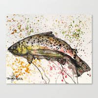 trout Canvas Prints featuring brown trout by Tricia Kibler