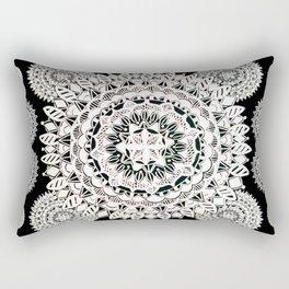 Two White-Silver Mandalas Patterned Textile Rectangular Pillow