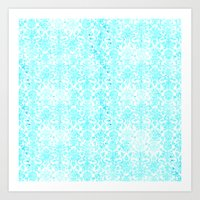 aqua Art Prints featuring Aqua Blue Damask by 2sweet4words Designs