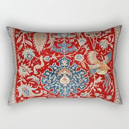 Turkey Hereke Old Century Authentic Colorful Royal Red Blue Blues Vintage Patterns Rectangular Pillow