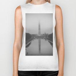Washington Monument shrouded in fog Biker Tank