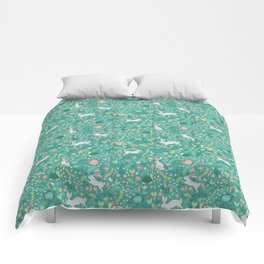 Spring Pattern of Bunnies with Turtles Comforters