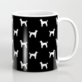 Poodle silhouette black and white minimal modern dog art pet portrait dog breeds Coffee Mug