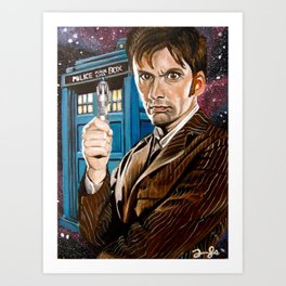 The Tenth Doctor and His TARDIS Art Print