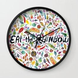 EAT THE RAINBOW Colorful Watercolor Veggies Fruits Wall Clock