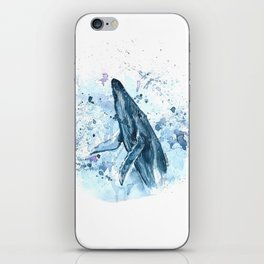 Blue Whale Watercolor Splashes Painting iPhone Skin