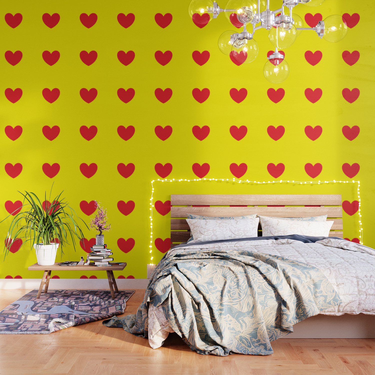 Red Heart In Yellow Wallpaper By Yellowparty Society6