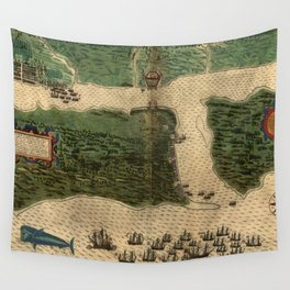 Vintage Map of St. Augustine Florida (1589) Wall Tapestry