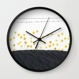 BIRDS OVER A FIELD OF FLOWERS Wall Clock