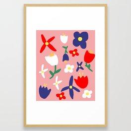 Large Handdrawn Bacchanal Floral Pop Art Print Framed Art Print