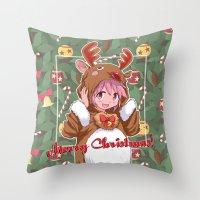 madoka Throw Pillows featuring Xmas Madoka Magica by Neo Crystal Tokyo