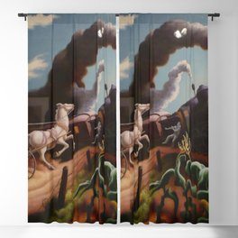 Classical Masterpiece 'Wreck of the Ol' 97' By Thomas Hart Benton Blackout Curtain