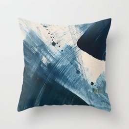 Against the Current [2]: A bold, minimal abstract acrylic piece in blue, white and gold Throw Pillow