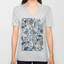 Blue vintage chinoiserie flora Unisex V-Neck