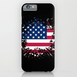 Grunge style american flag iPhone Case