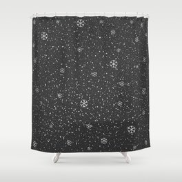 Winter Snowy Background fill with snow and snowflakes Shower Curtain