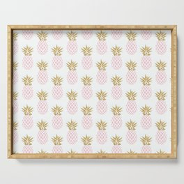Elegant faux gold pineapple pattern Serving Tray