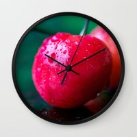 cherry Wall Clocks featuring Cherry by Lindsay Faye