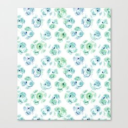 Abstract floral turquoise and white pattern. Canvas Print